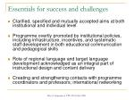 essentials for success and challenges