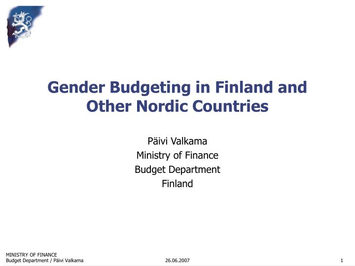 gender budgeting in finland and other nordic countries n.
