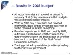 results in 2008 budget