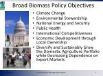broad biomass policy objectives
