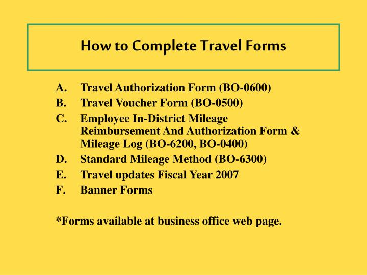 how to complete travel forms n.