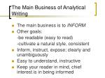 the main business of analytical writing