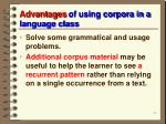 advantages of using corpora in a language class