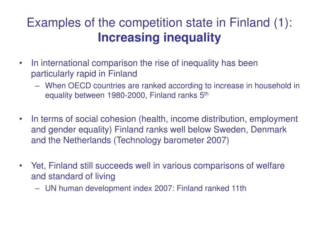 Examples of the competition state in Finland (1):