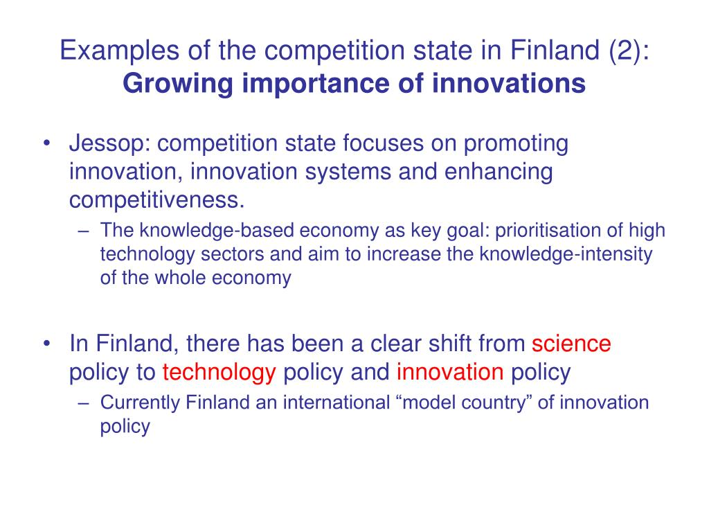 Examples of the competition state in Finland (2):