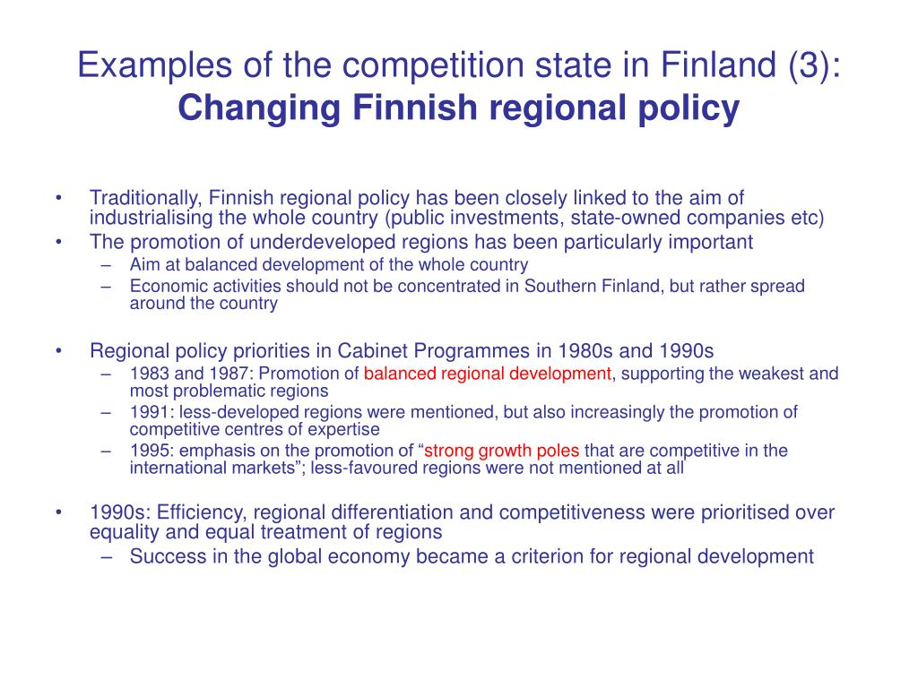 Examples of the competition state in Finland (3):