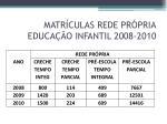 matr culas rede pr pria educa o infantil 2008 2010
