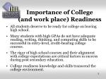 importance of college and work place readiness