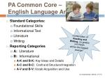 pa common core english language arts