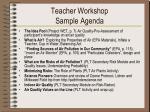 teacher workshop sample agenda
