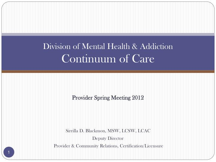 division of mental health addiction continuum of care n.