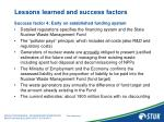 lessons learned and success factors8