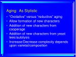 aging as stylistic