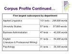 corpus profile continued