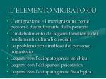 l elemento migratorio