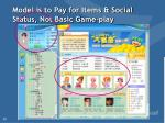 model is to pay for items social status not basic game play