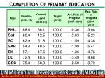 completion of primary education