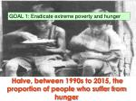 halve between 1990s to 2015 the proportion of people who suffer from hunger