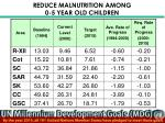 reduce malnutrition among 0 5 year old children