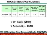 reduce subsistence incidence