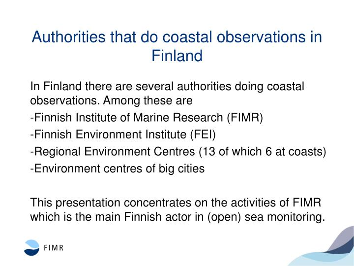 Authorities that do coastal observations in finland
