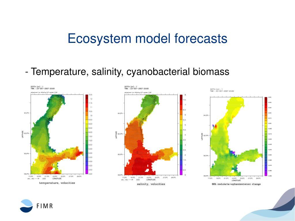 Ecosystem model forecasts
