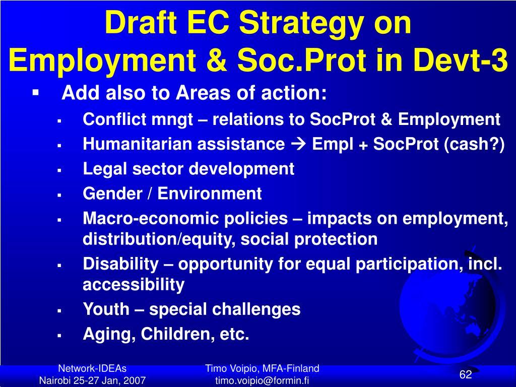 Draft EC Strategy on Employment & Soc.Prot in Devt-3