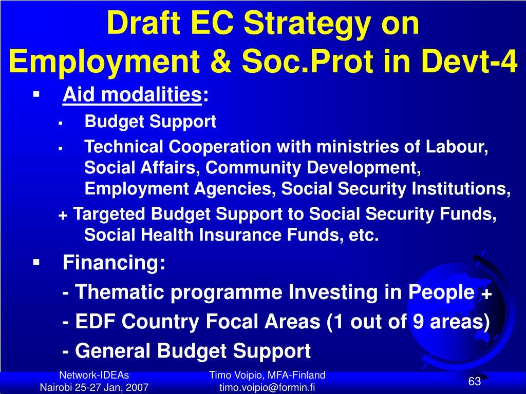 Draft EC Strategy on Employment & Soc.Prot in Devt-4