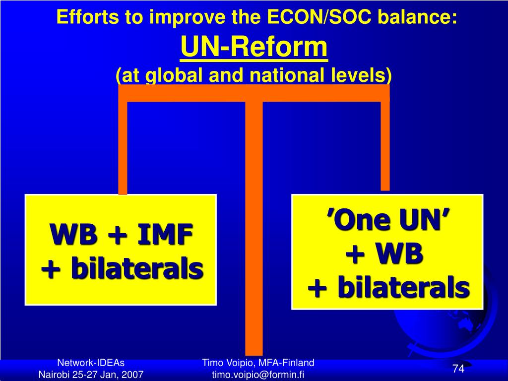 Efforts to improve the ECON/SOC balance: