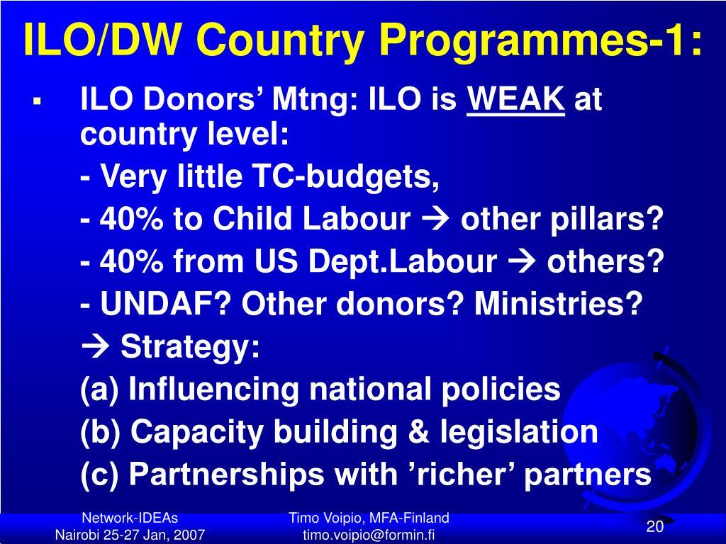 ILO/DW Country Programmes-1: