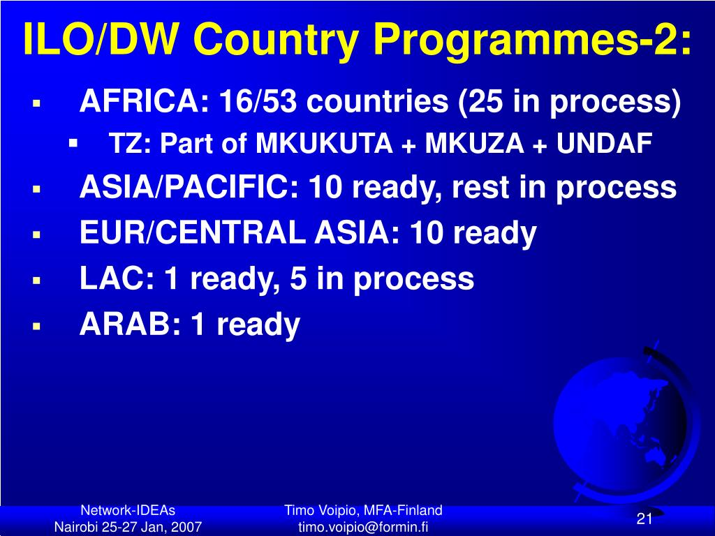 ILO/DW Country Programmes-2: