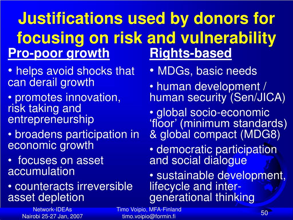 Justifications used by donors for focusing on risk and vulnerability