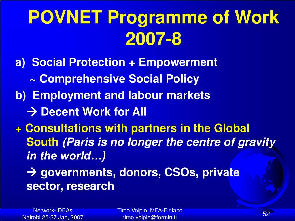 POVNET Programme of Work 2007-8