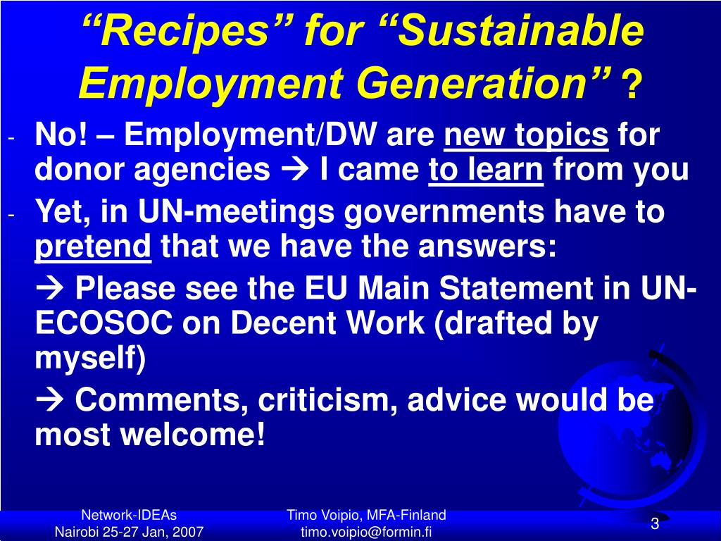 """""""Recipes"""" for """"Sustainable Employment Generation"""""""