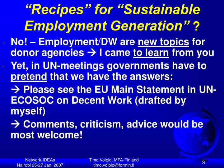 Recipes for sustainable employment generation