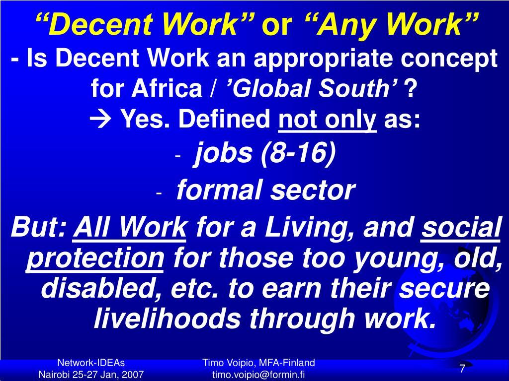 """""""Decent Work"""""""