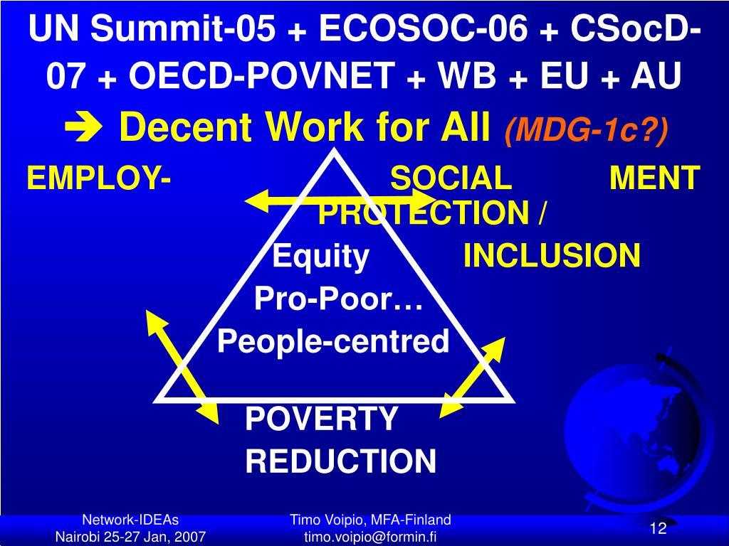 UN Summit-05 + ECOSOC-06 + CSocD-07 + OECD-POVNET + WB + EU + AU