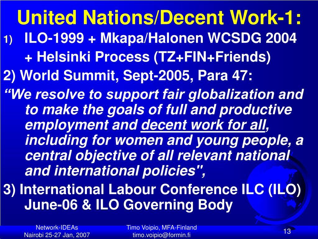 United Nations/Decent Work-1: