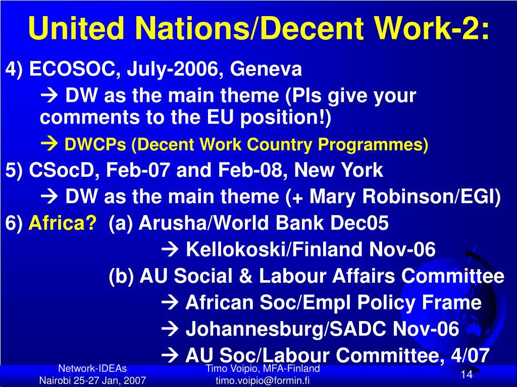 United Nations/Decent Work-2: