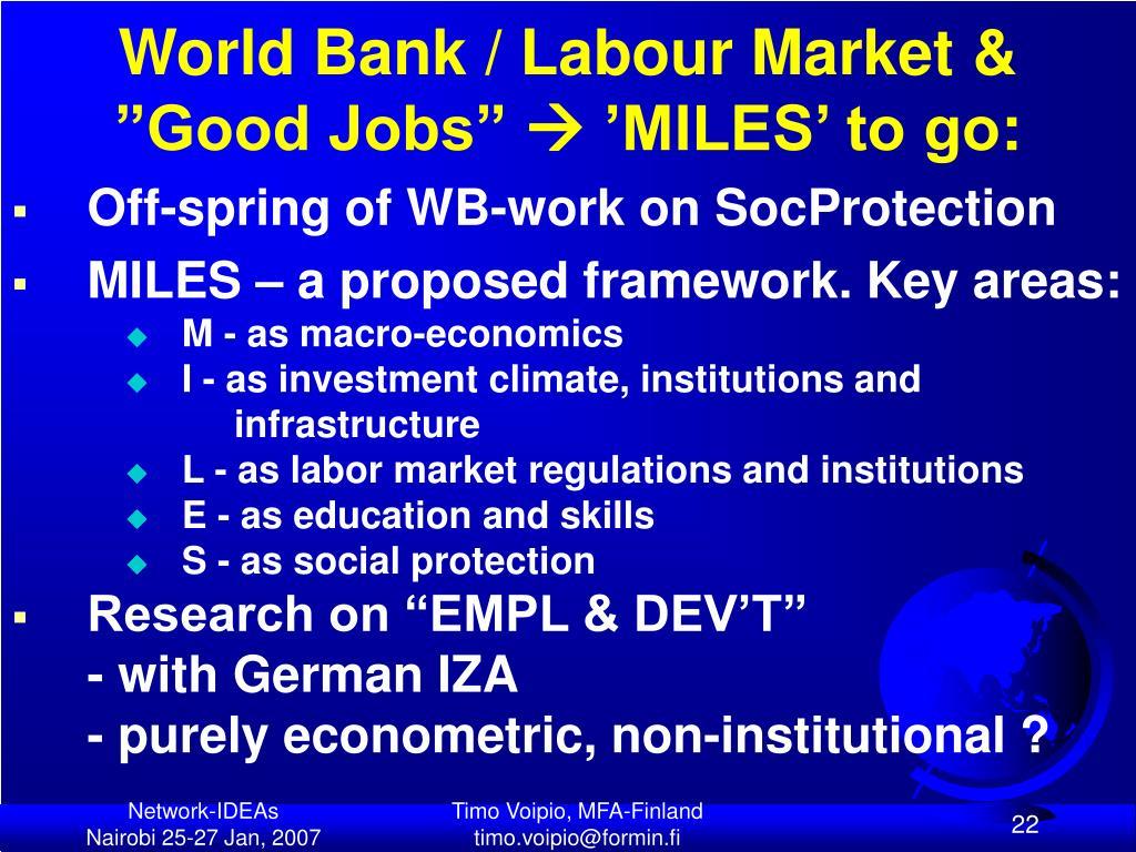 """World Bank / Labour Market & """"Good Jobs"""""""