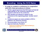 branding using the scs name