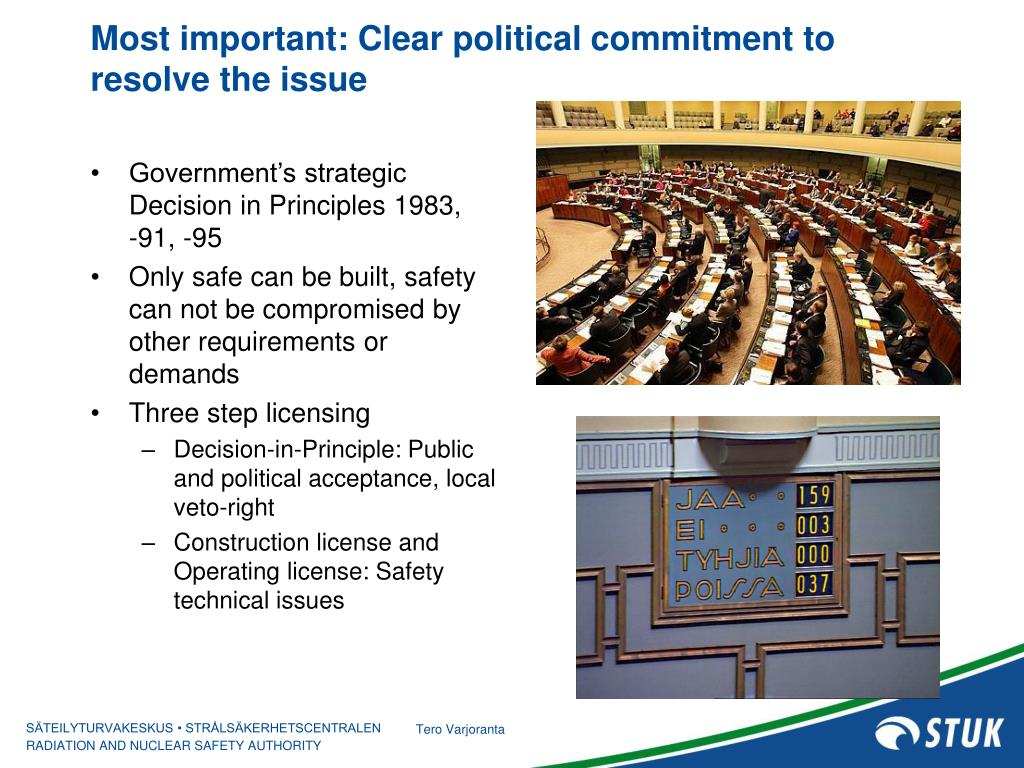 Most important: Clear political commitment to resolve the issue