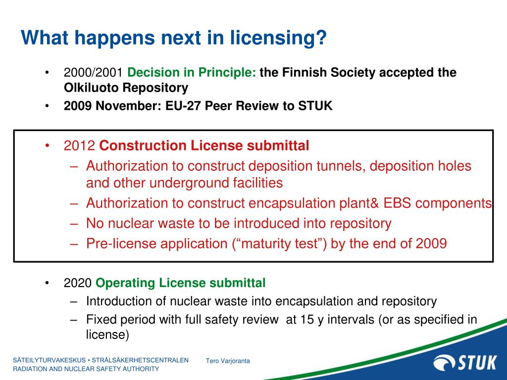 What happens next in licensing?
