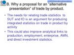 b why a proposal for an alternative presentation of trade by product