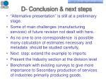 d conclusion next steps