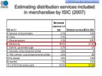 estimating distribution services included in merchandise by isic 2007