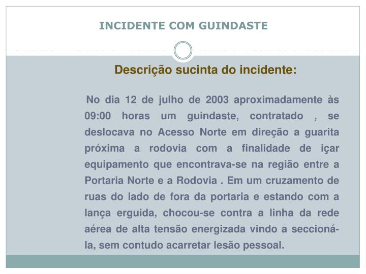 incidente com guindaste n.