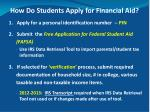 how do students apply for financial aid