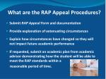 what are the rap appeal procedures