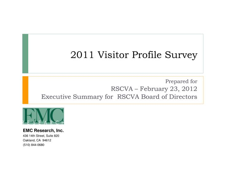 2011 visitor profile survey n.